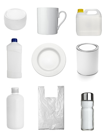 ceramic bottle: collection of  various white dishes, bottles and containers on white background. each one is shot separately