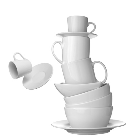 drinking problem: collection white coffee cups, plates and dishes on white background. each one is shot separately
