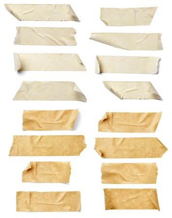 collection of  various adhesive tape pieces on  white background. each one is shot separately Stock Photo - 12273365