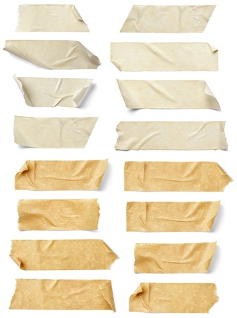 masking tape: collection of  various adhesive tape pieces on  white background. each one is shot separately