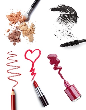 eyeshadow: collection of  various make up accessories on white background. each one is shot separately Stock Photo