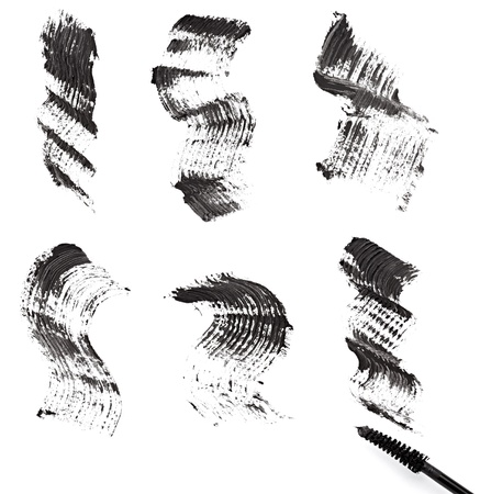 paint samples: close up of black mascara on white background