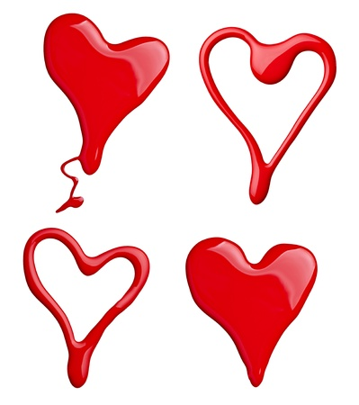 red nails: collection of red paint and nail polish heart shapes on white background. each one is shot separately