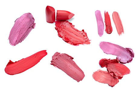 smudge: collection of  various lipstick on white background. each one is shot separately