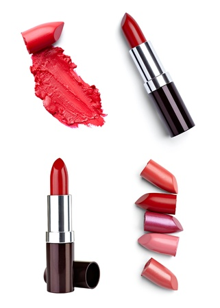 collection of  various lipstick on white background. each one is shot separately photo