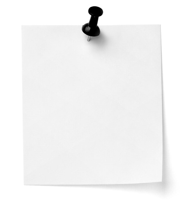 post it note: close up of a note paper with push pin on white background with clipping path Stock Photo