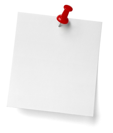 pin up: close up of a note paper with push pin on white background with clipping path Stock Photo