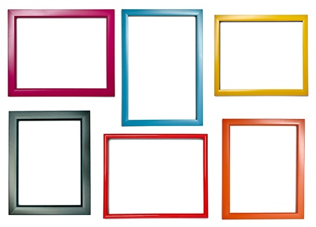 collection of various wooden frames for painting or picture on white background. each one is shot separately photo