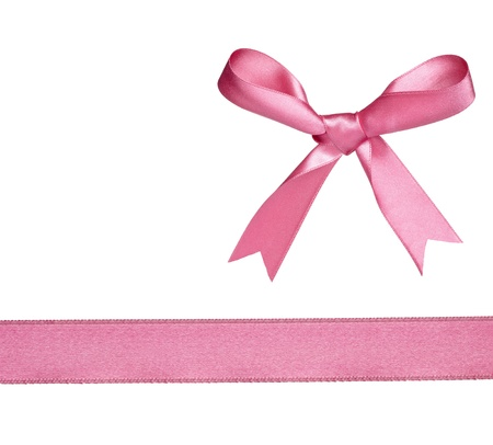 christmas pink: collection of  various knot and ribbon on white background. each one is shot separately