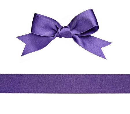 purple ribbon: collection of  various knot and ribbon on white background. each one is shot separately