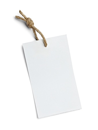 gift tag: close up of  a price label on white background