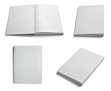 cover book: collection of various  blank white paper on white background. each one is shot separately Stock Photo