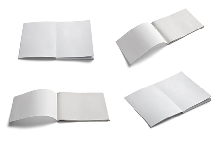 blank brochure: collection of various  blank white paper on white background. each one is shot separately Stock Photo