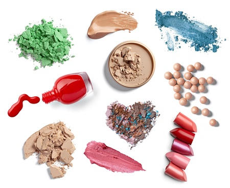collection of  various make up accessories on white background. each one is shot separately Stock Photo - 12650219