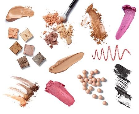 kosmetik: Sammlung von verschiedenen Make-up-Accessoires auf wei�em Hintergrund. jeder wird separat erschossen