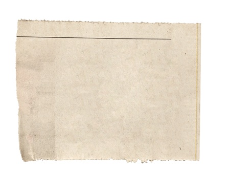 close up of  a white ripped piece of news paper on on white background with clipping path Stock Photo - 12650211