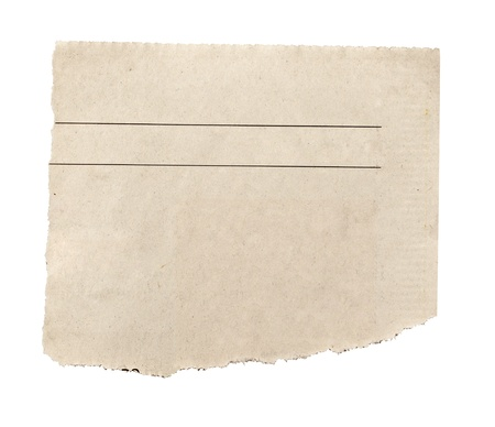 articles: close up of  a white ripped piece of news paper on on white background with clipping path