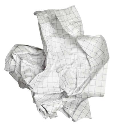 reciclaje de papel: cerca de una bola de papel en el fondo blanco con trazado de recorte
