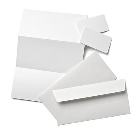 sobres para carta: colecci�n de varios de papel en blanco sobre un fondo blanco con trazado de recorte Foto de archivo
