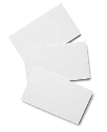 workpiece: collection of various  blank white paper on white background with clipping path