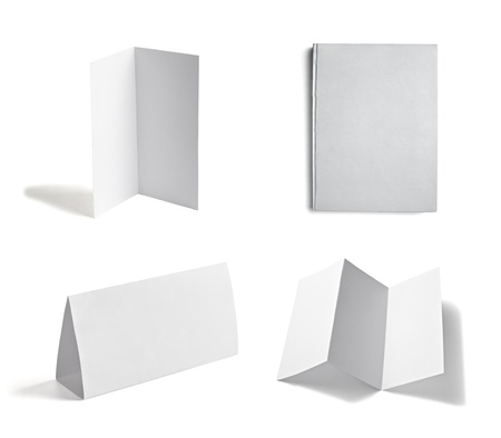 z fold: collection of various  blank white paper on white background  each one is shot separately Stock Photo