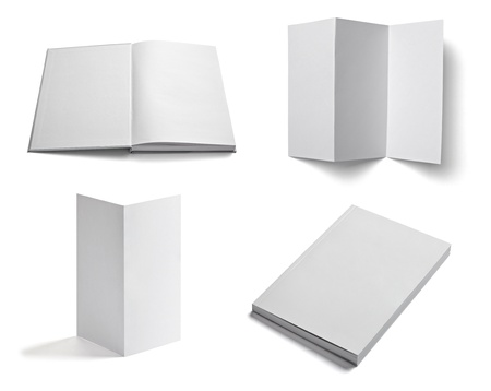 collection of various  blank white paper on white background  each one is shot separately Stock Photo - 12650309