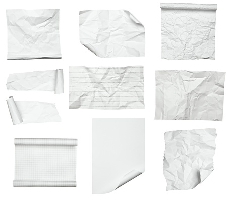 collection of various white papers on white background  each one is shot separately photo