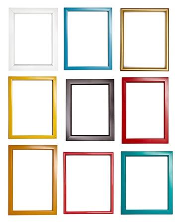 galeria fotografica: colecci�n de diferentes marcos de madera para la pintura o la imagen en el fondo blanco de cada una se dispara por separado