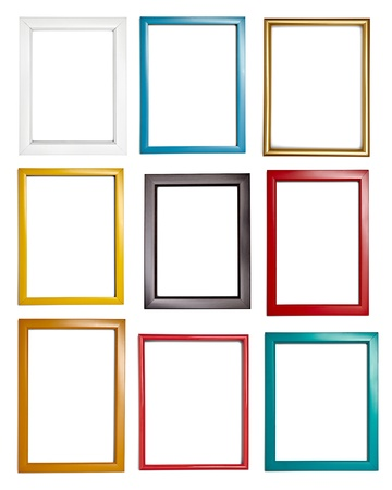 collection of various wooden frames for painting or picture on white background  each one is shot separately photo