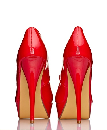 close up of a red high heels on white background with clipping path