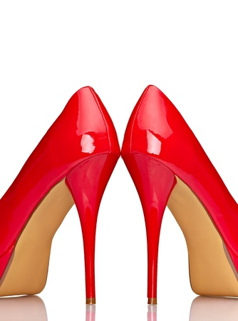 close up of  a red high heels on white background with clipping path photo