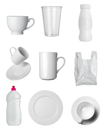 collection of  various white dishes, bottles and containers on white background  each one is shot separately photo