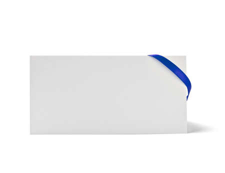 close up of  card note with  ribbon on white background  with clipping path Stock Photo - 12650005