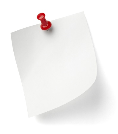 close up of a note paper with push pin on white background with clipping path photo