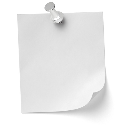drawing pins: close up of a note paper with push pin on white background with clipping path Stock Photo
