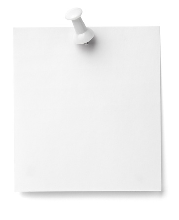 it background: close up of a note paper with push pin on white background with clipping path Stock Photo