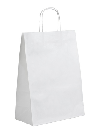close up of  a white paper bag on white background with clipping path photo