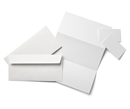 z fold: collection of various  blank white paper on white background with clipping path