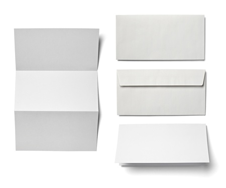 collection of various  blank white paper on white background  each one is shot separately Stock Photo