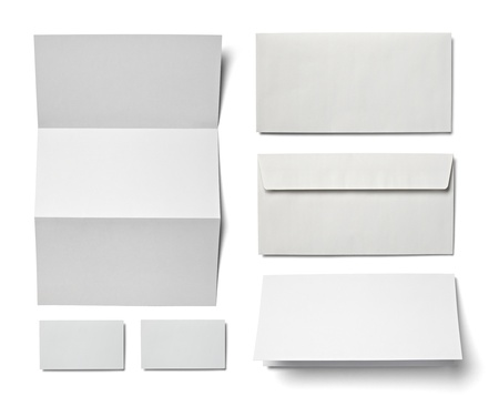 workpiece: collection of various  blank white paper on white background  each one is shot separately Stock Photo