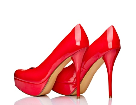 close up of  a red high heels on white background with clipping path Stock Photo