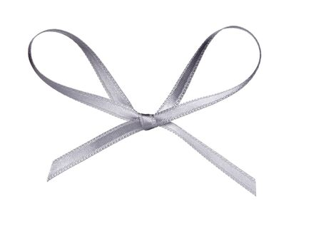 close up of  a silk ribbon knot on white background photo