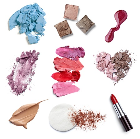 smudge: collection of  various make up accessories on white background  each one is shot separately
