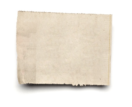 rough paper: close up of  a white ripped piece of news paper on on white background