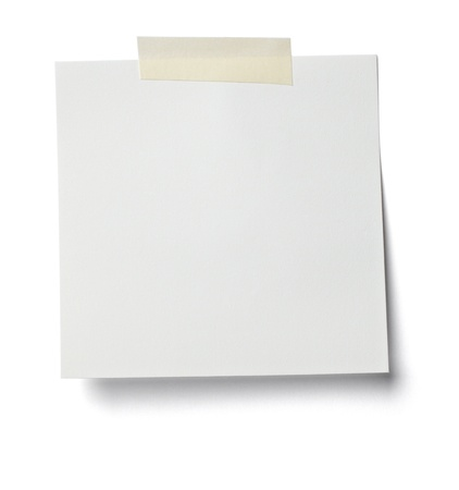 close up of  a white note paper on white background photo