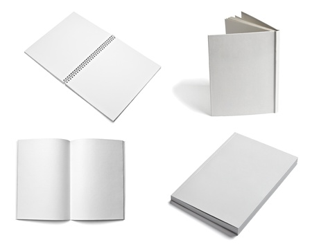 leaflet: collection of various  blank white paper on white background. each one is shot separately Stock Photo