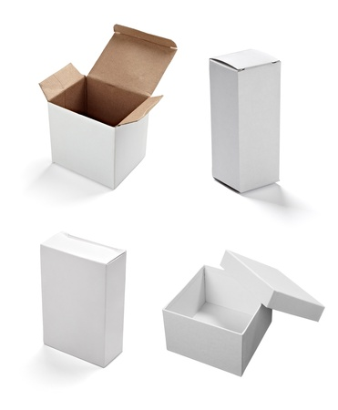 packaging box: collection of  various white boxes on white background. each one is shot separately