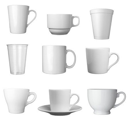 collection of various white coffee cups on white background. each one is shot separately photo