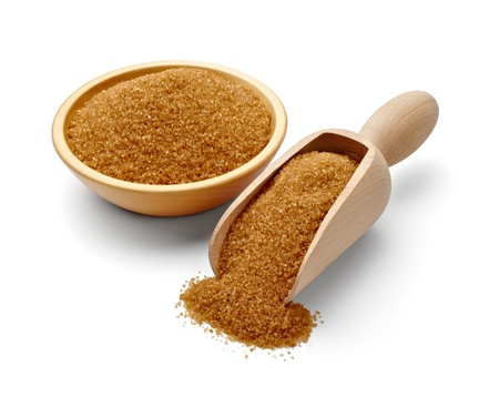 sugar: close up of  brown sugar   Stock Photo