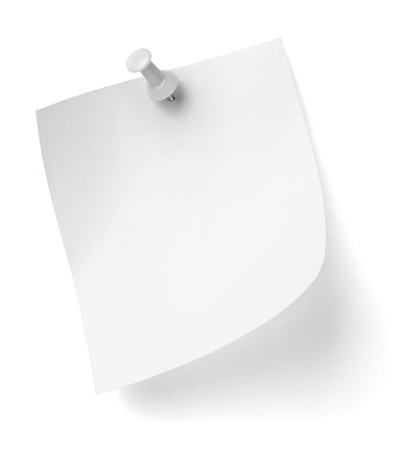 tack: close up of a note paper with push pin
